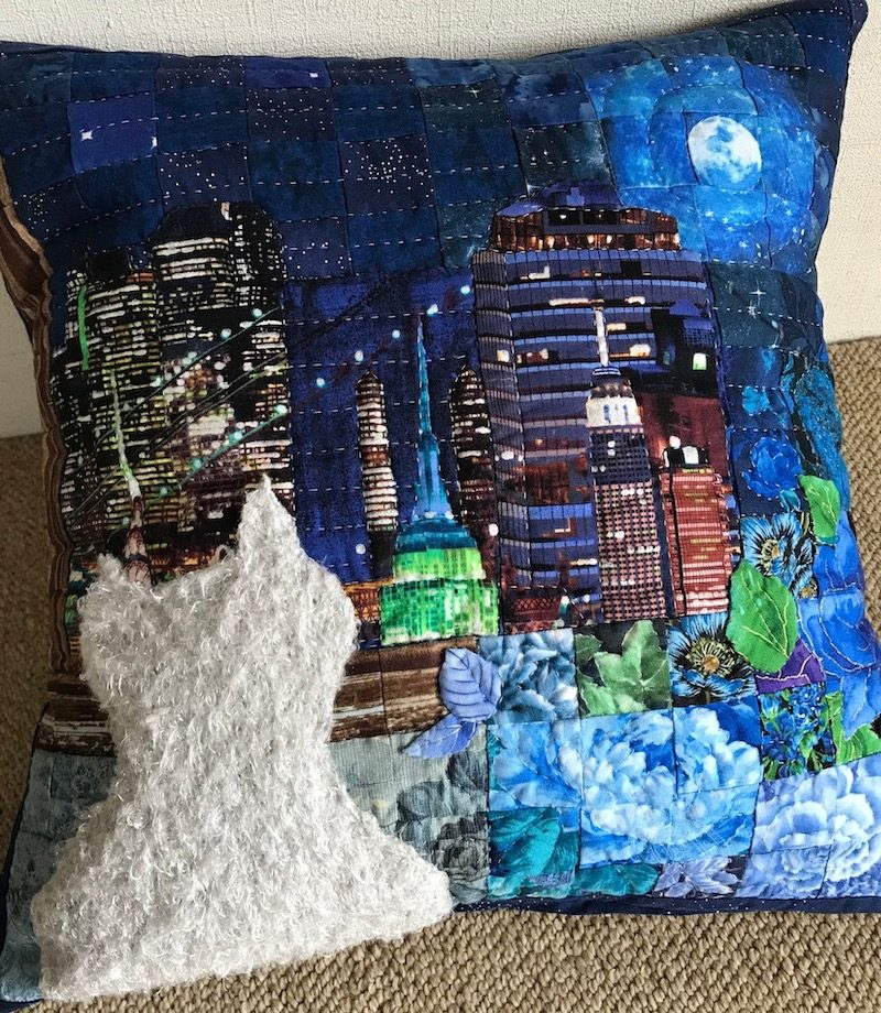 Full Moon and Cat | Quilt Watercolor