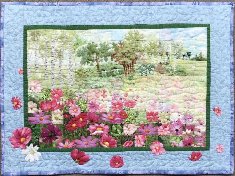 Blooming Cosmos Flowers | Watercolor Quilt
