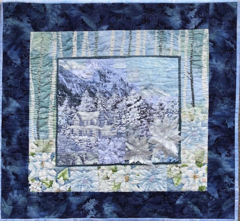 House in Winter Mountain  | Watercolor Quilt